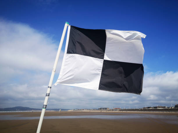 Black and white chequered beach flag - surfing area.